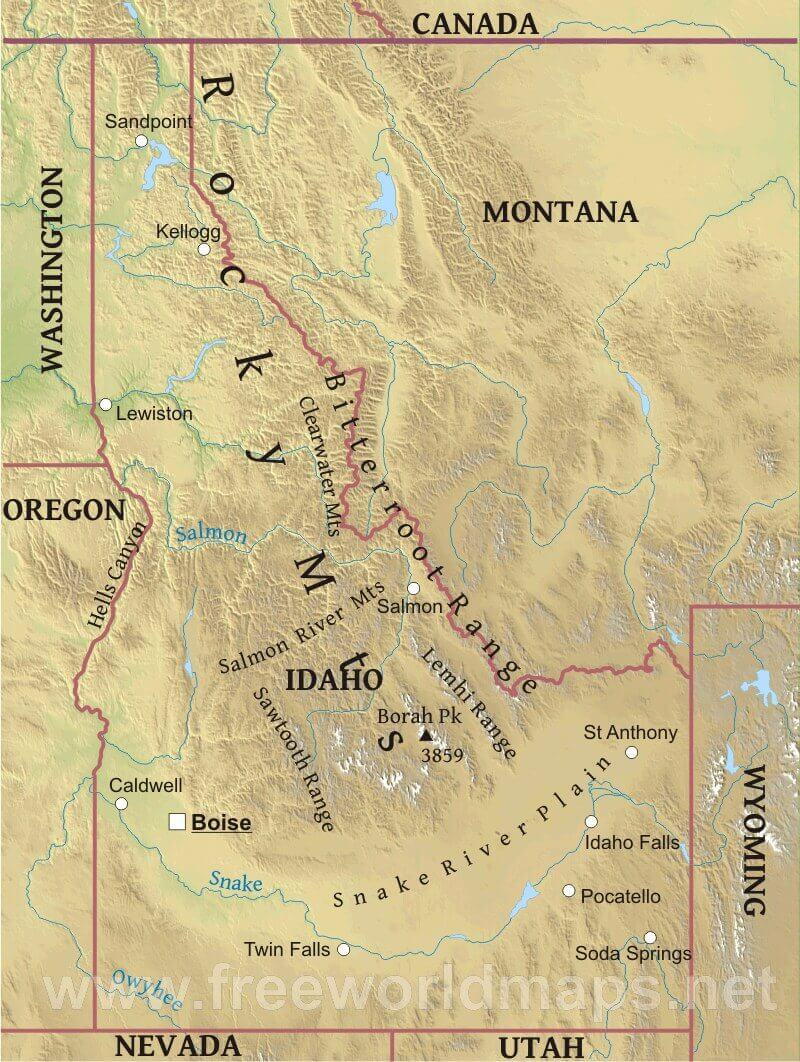 Physical Map Of Idaho - Map of mountain ranges in the united states