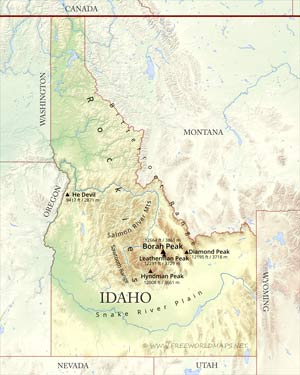 Physical Map Of Idaho - Labeled us map with mountain range and rivers