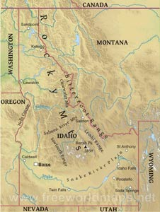 Idaho Maps - Physical map of idaho