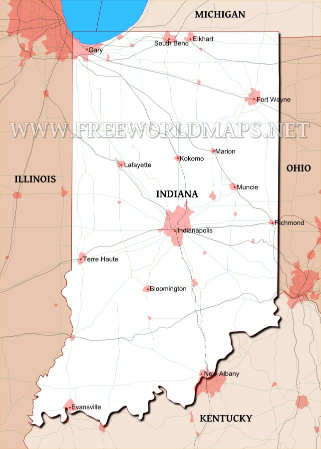 Physical Map Of Indiana - Indiana maps with cities