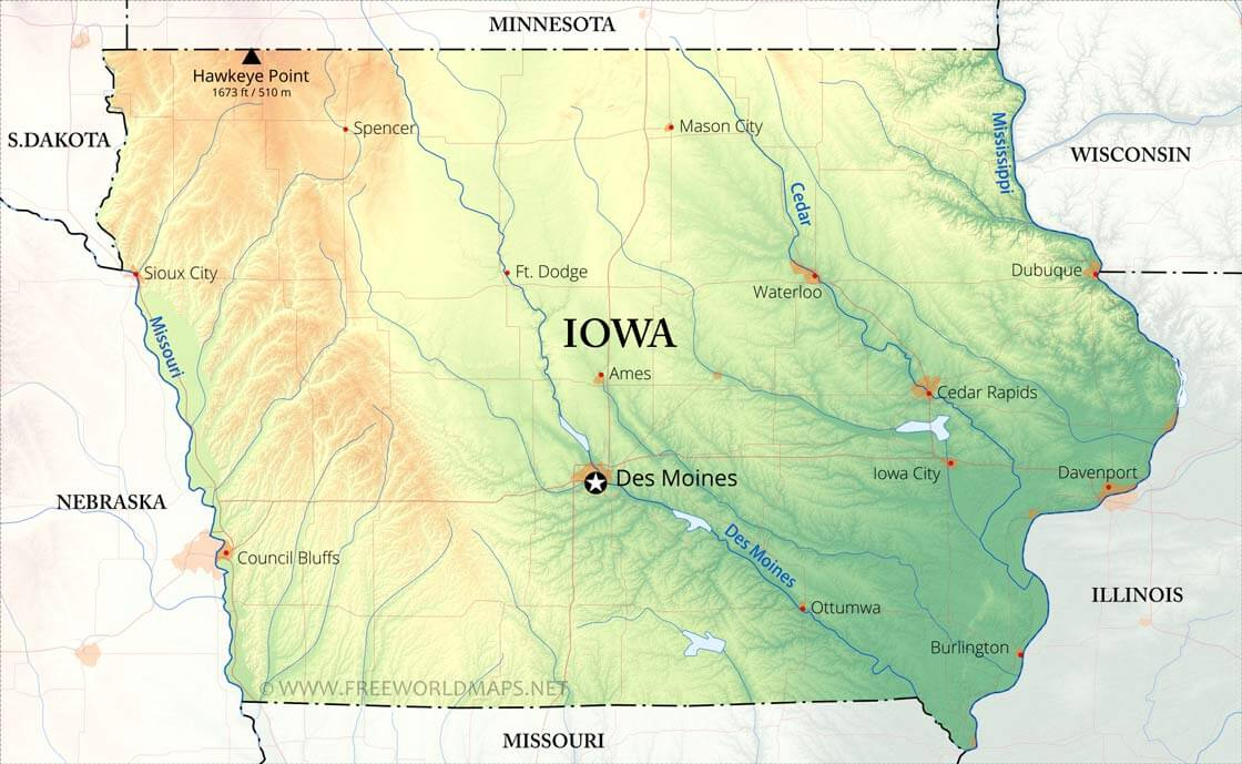 Physical Map Of Iowa - United states map iowa