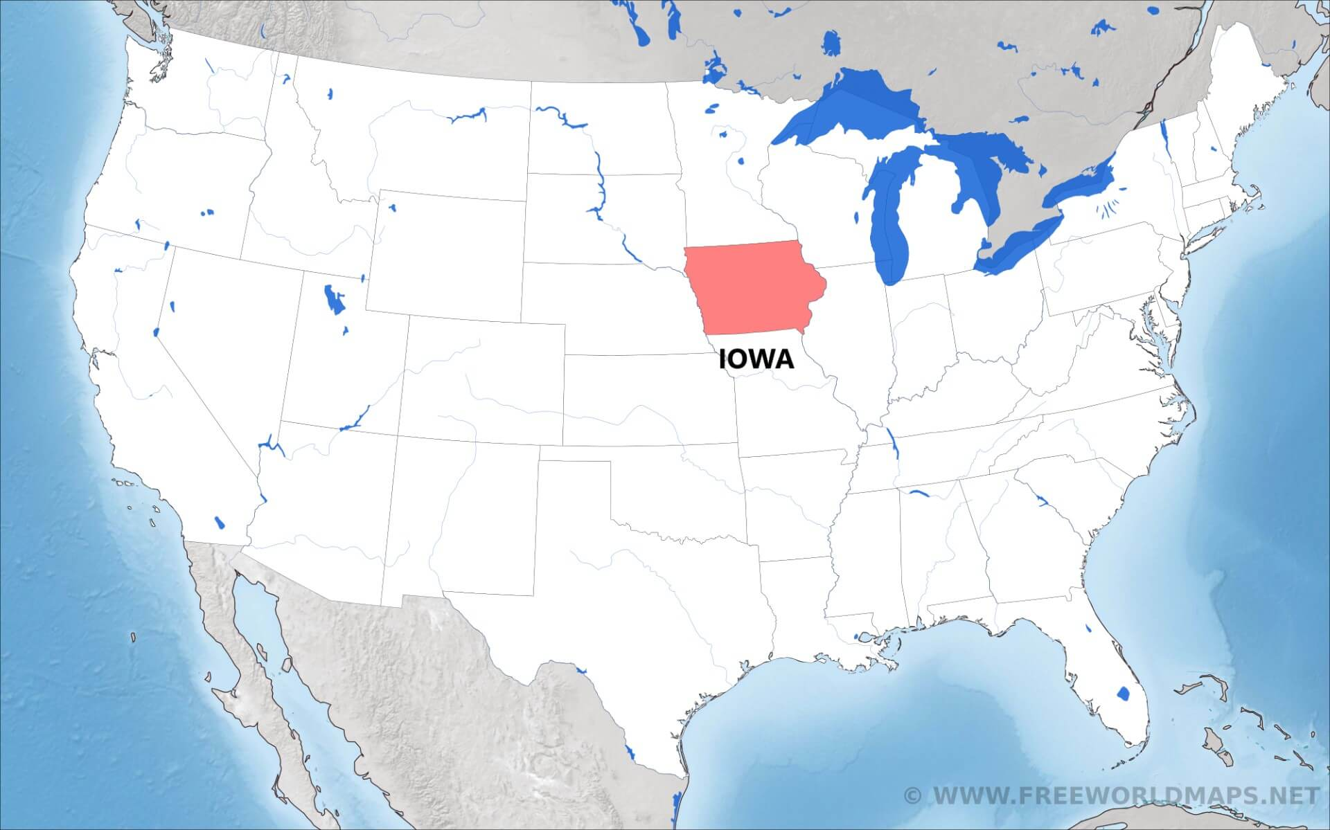 Where Is Iowa Located On The Map - Iowa on a us map