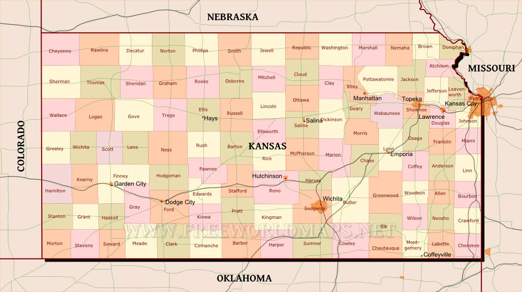 Kansas Maps - Map of kansas