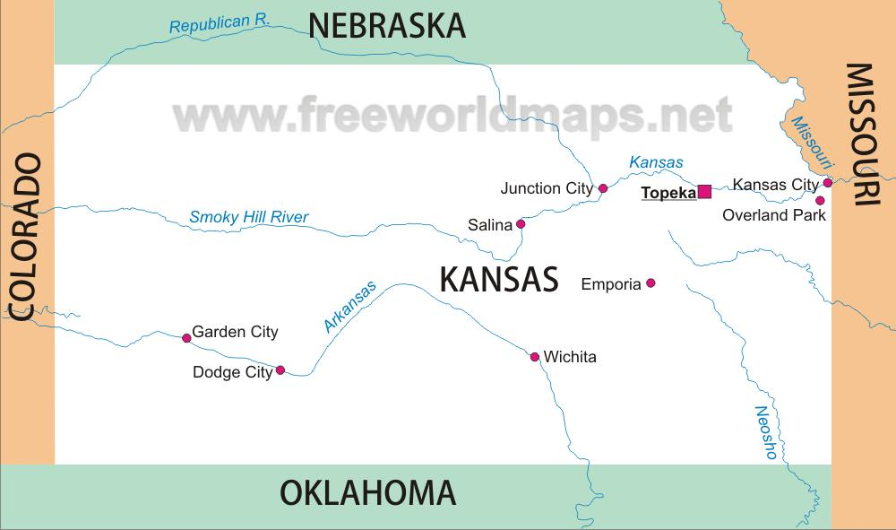 Blank map of Kansas Simple map of Kansas