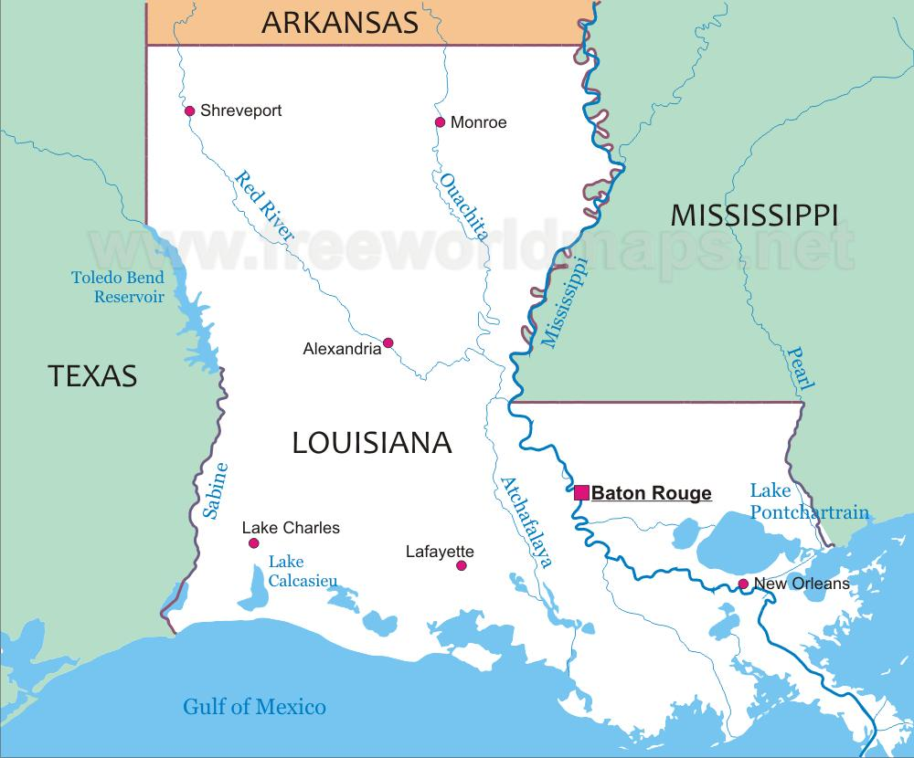 Where is Louisiana located? Map showing the location of Louisiana on ...