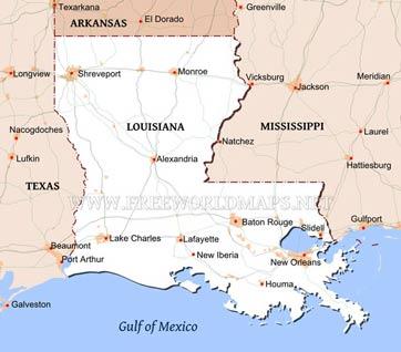 Physical map of Louisiana