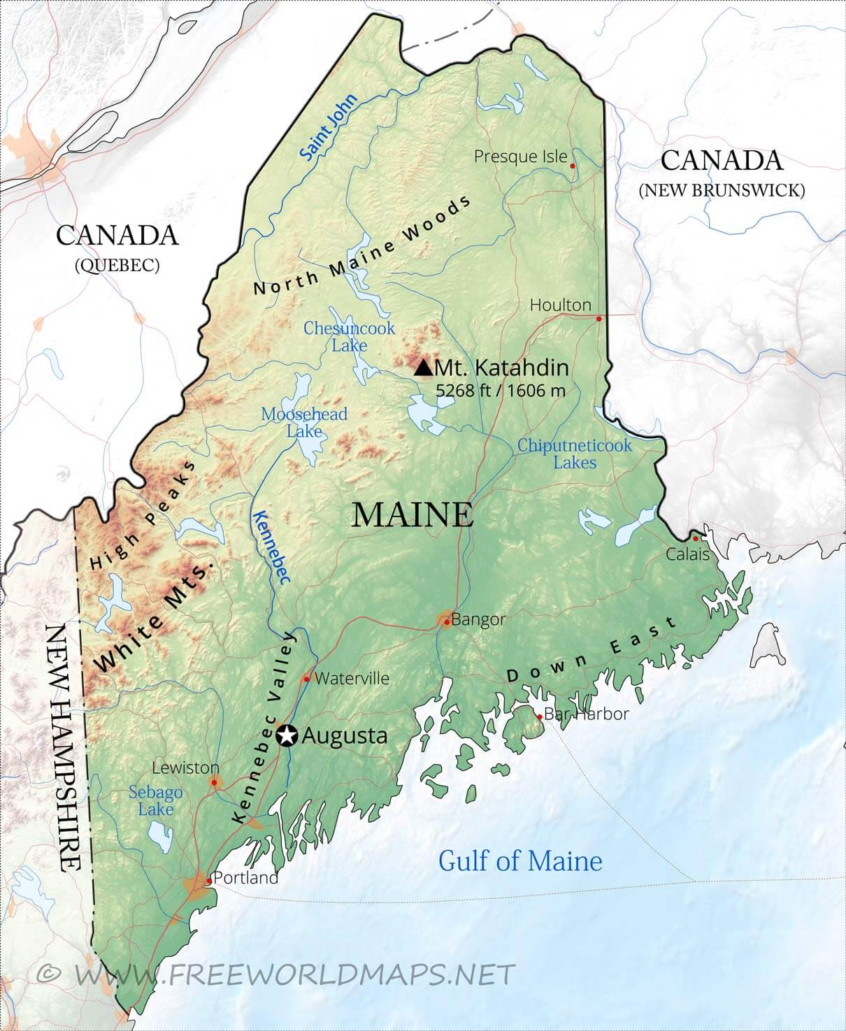 Physical Map Of Maine - United states map mountains