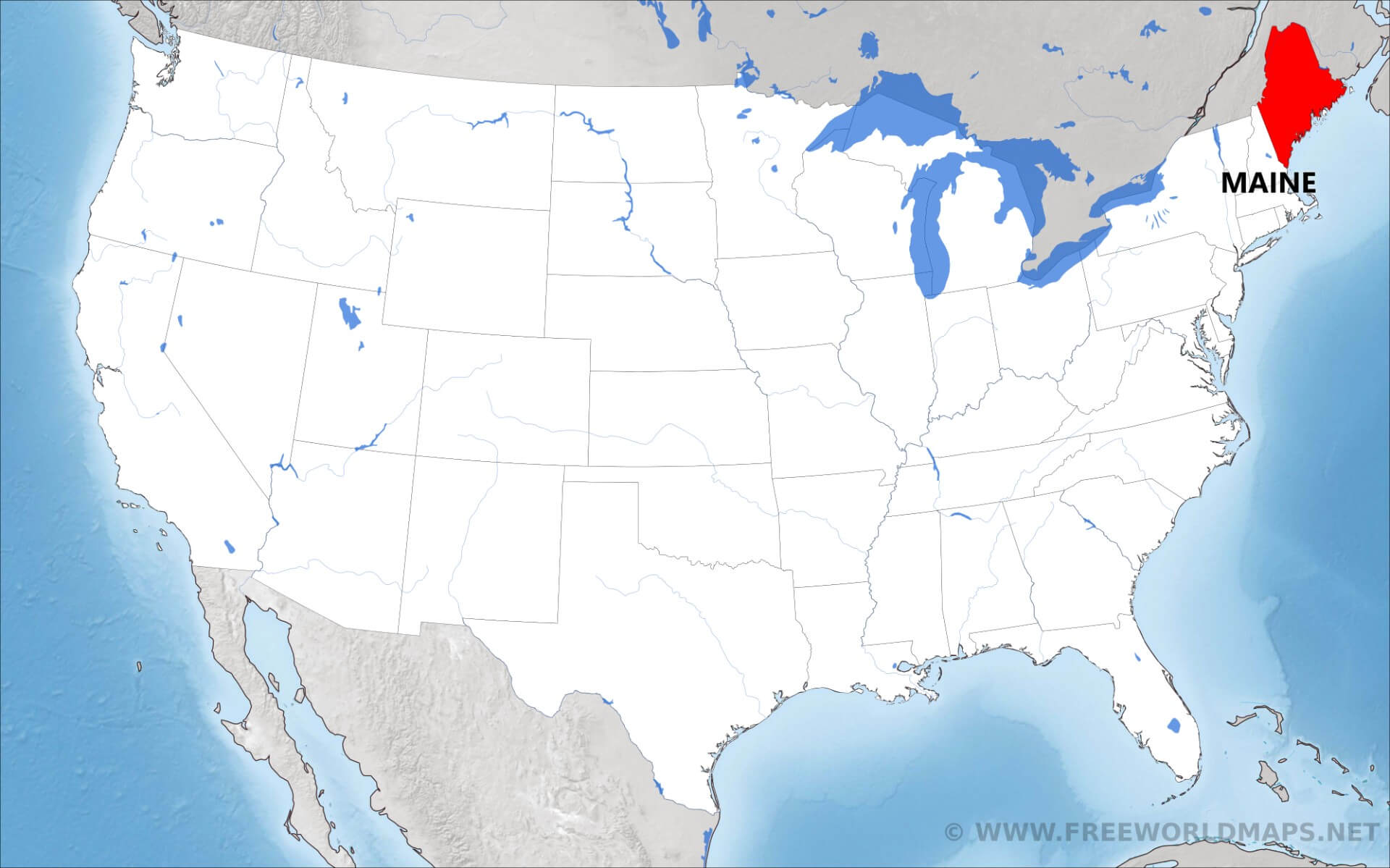 Where is Maine located on the map