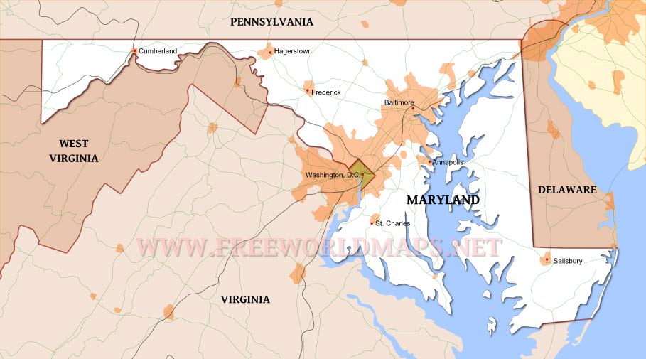 Map Us Maryland Images Maryland Map And Maryland Satellite - Map of us maryland