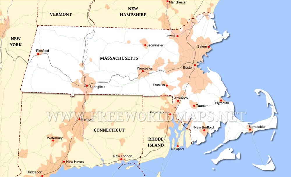 Massachusetts Maps - Massachusetts physical map