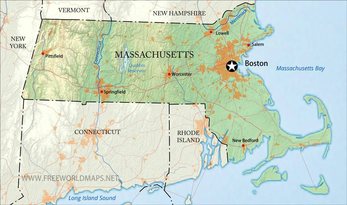 Physical Map Of Massachusetts - Massachusetts physical map