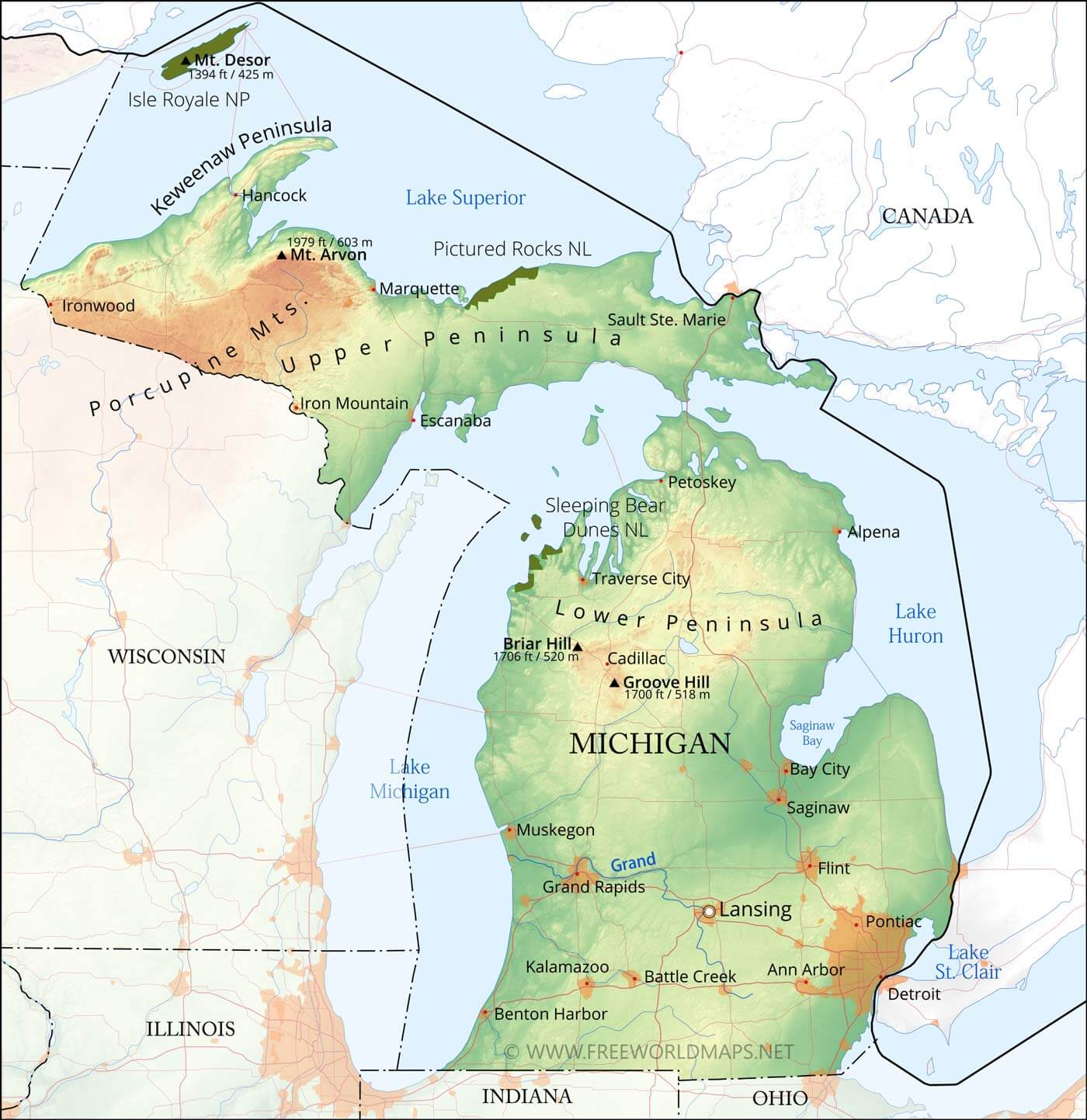 Physical Map Of Michigan - United states of america physical maps
