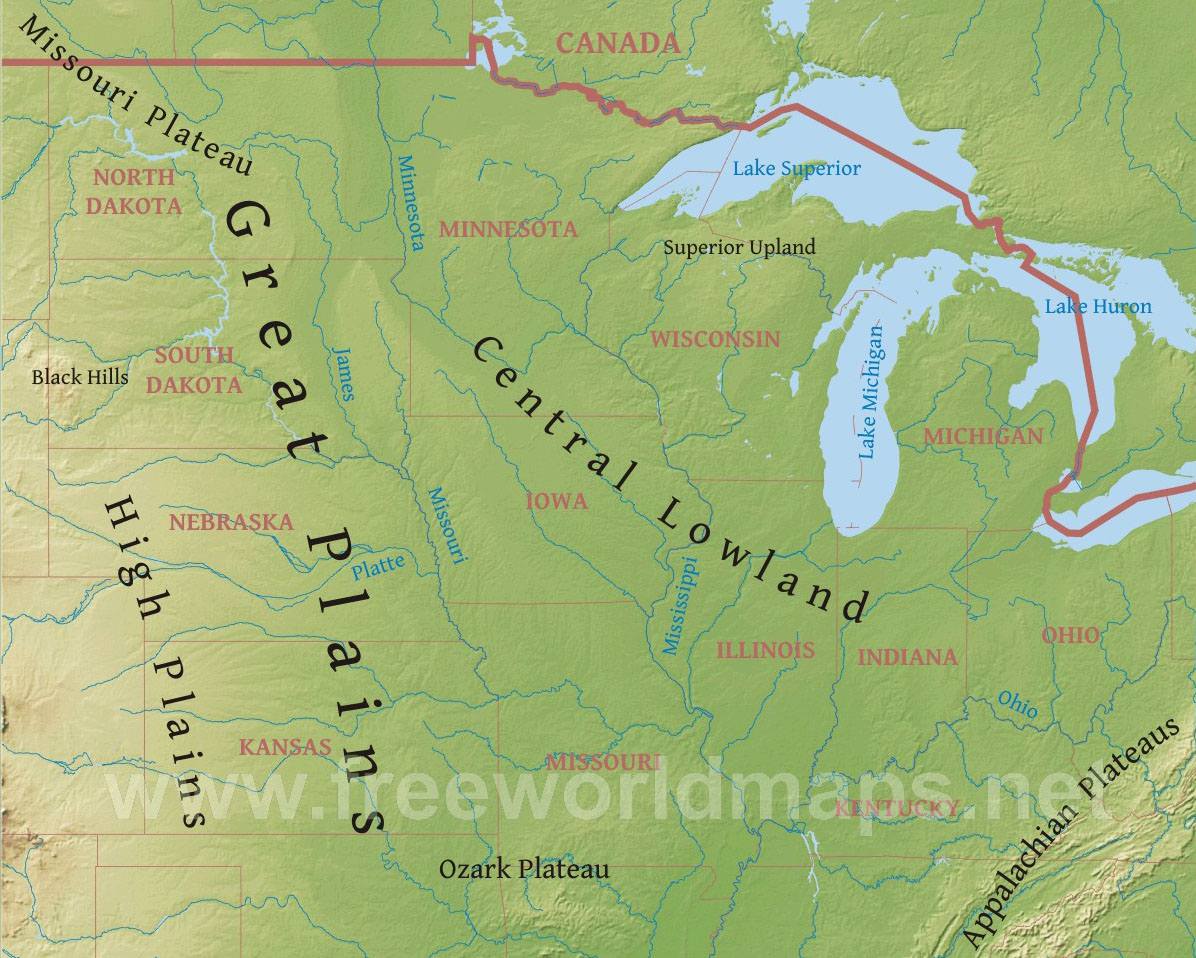 Physical Map - Us map of midwest states