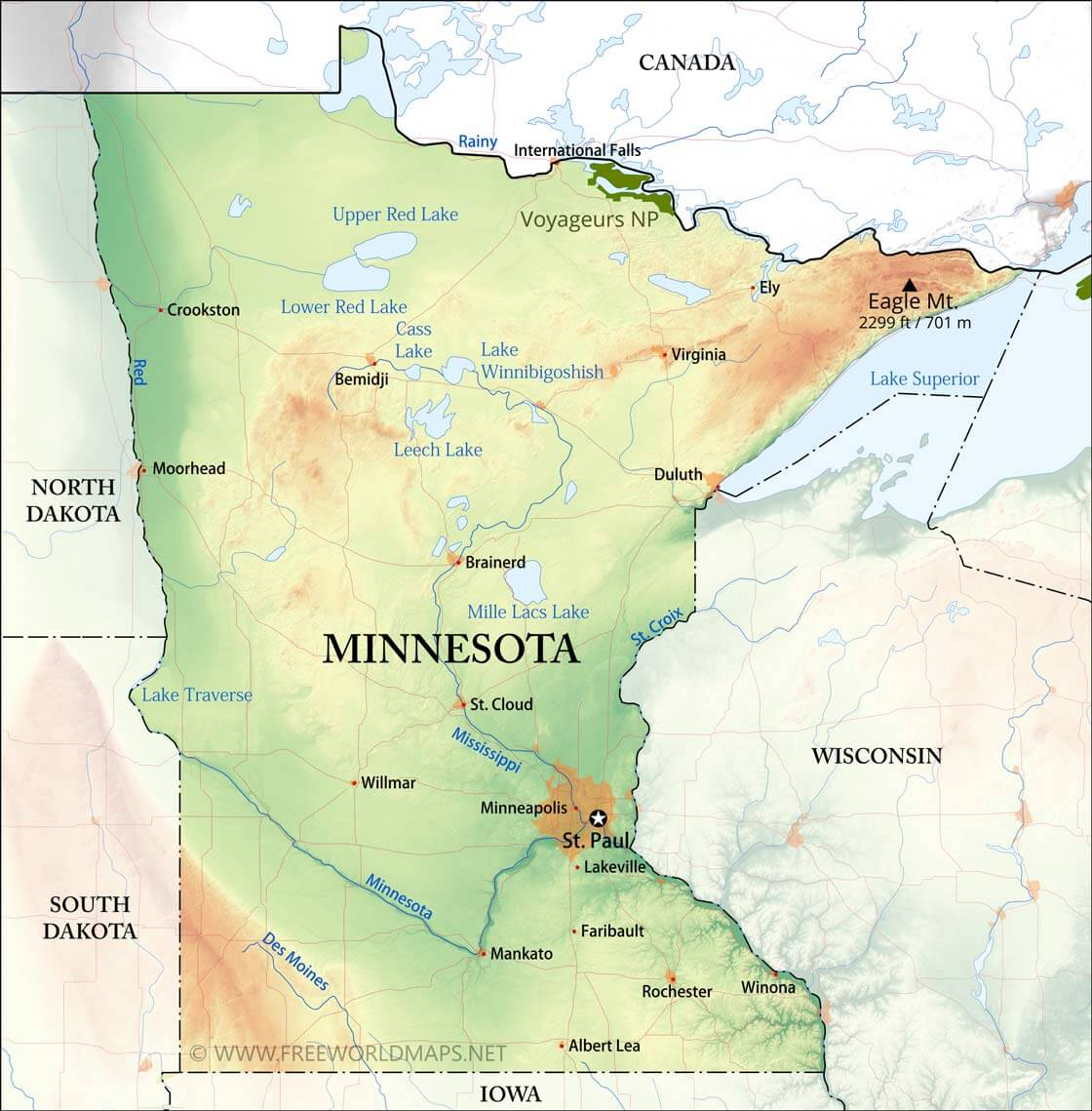 Physical Map Of Minnesota - Maps of minnesota