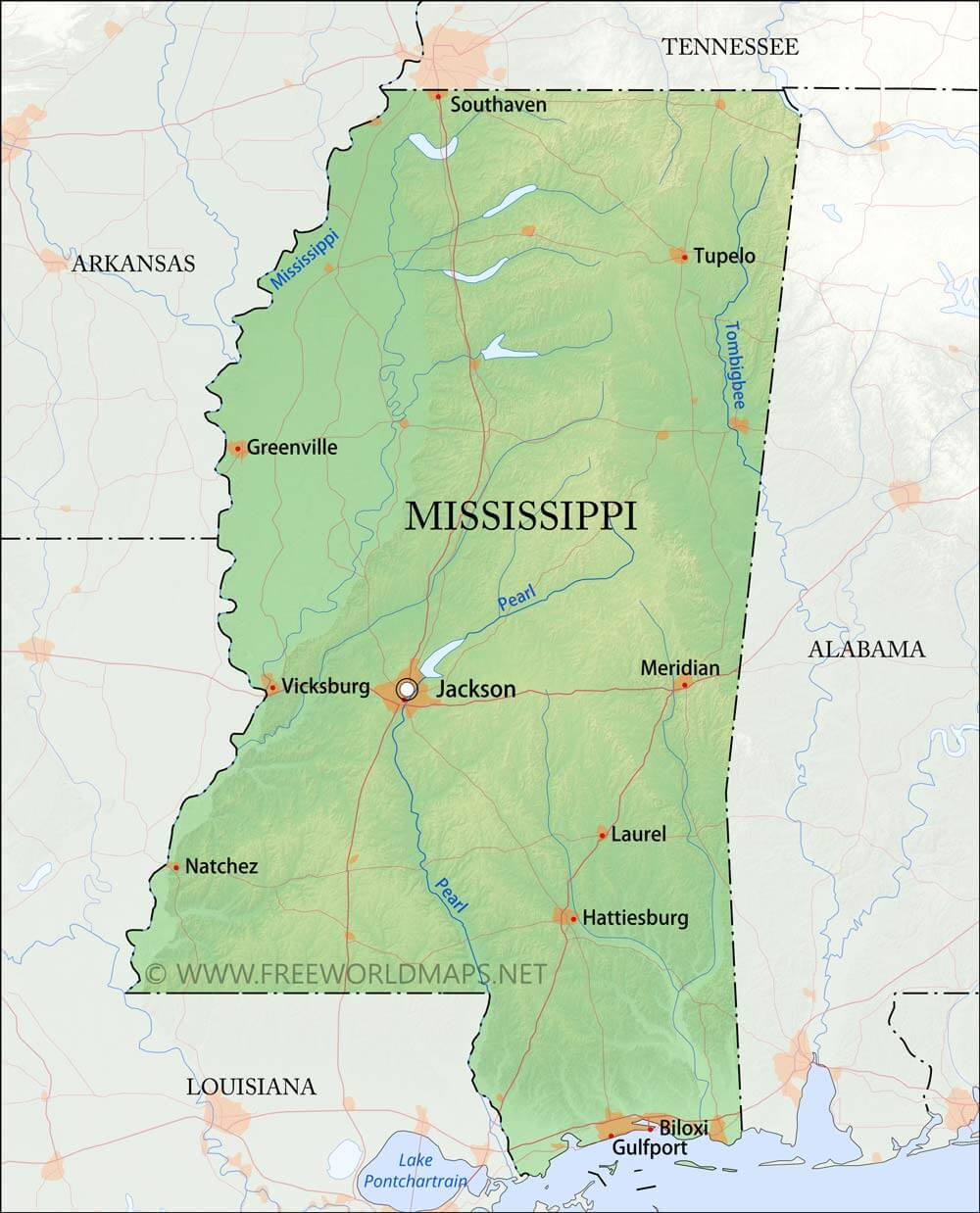 Physical Map Of Mississippi - Missisippi map