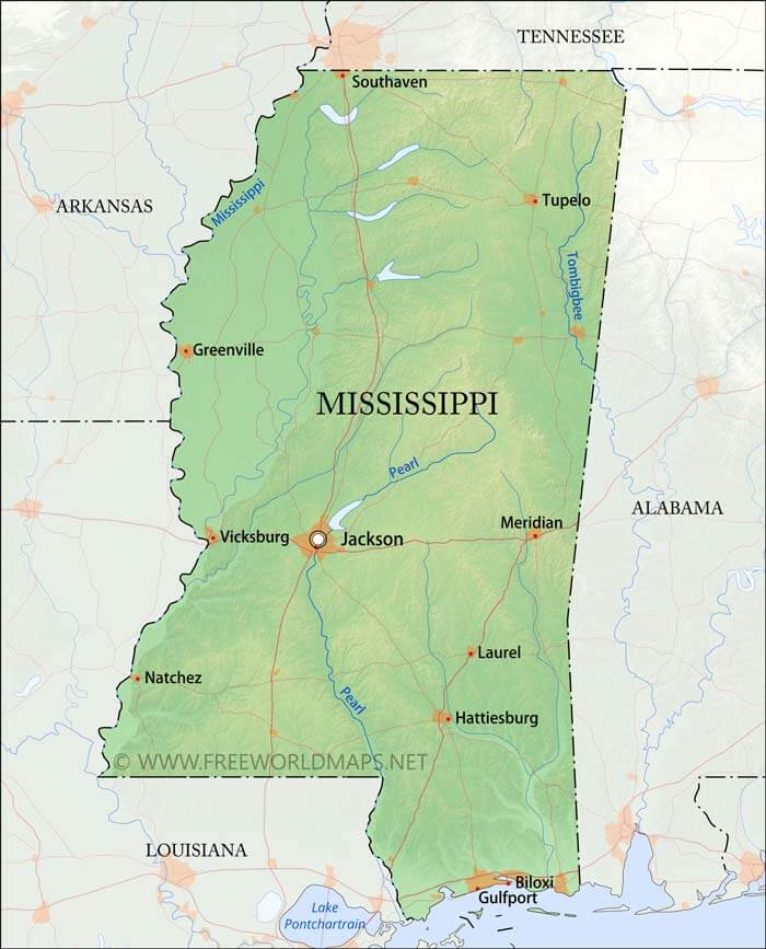 Physical Map Of Mississippi