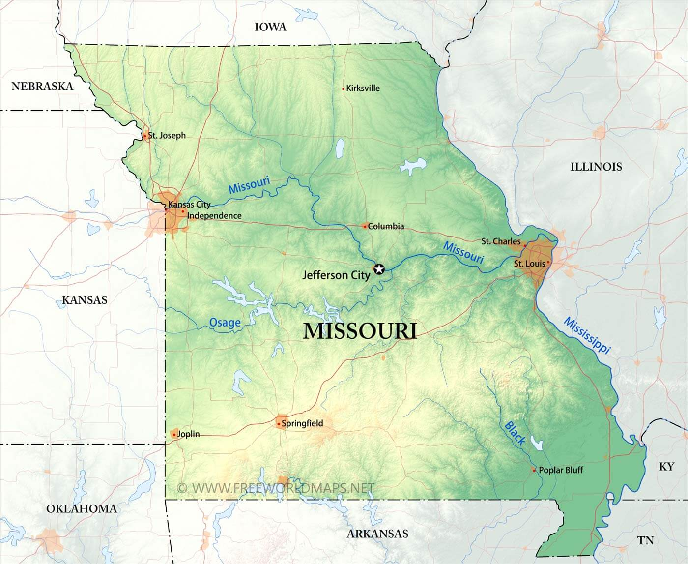 Physical map of Missouri