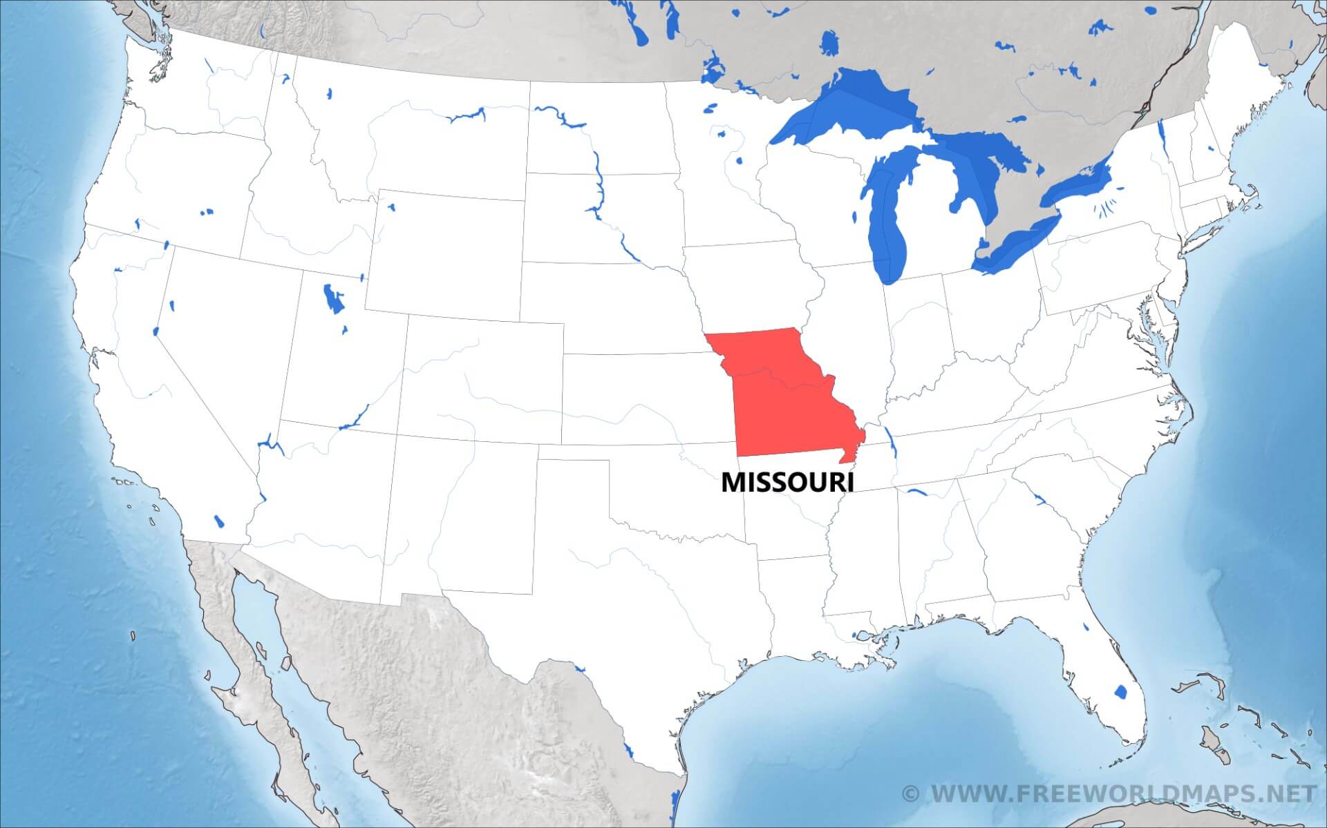 Where is Missouri located on the map?