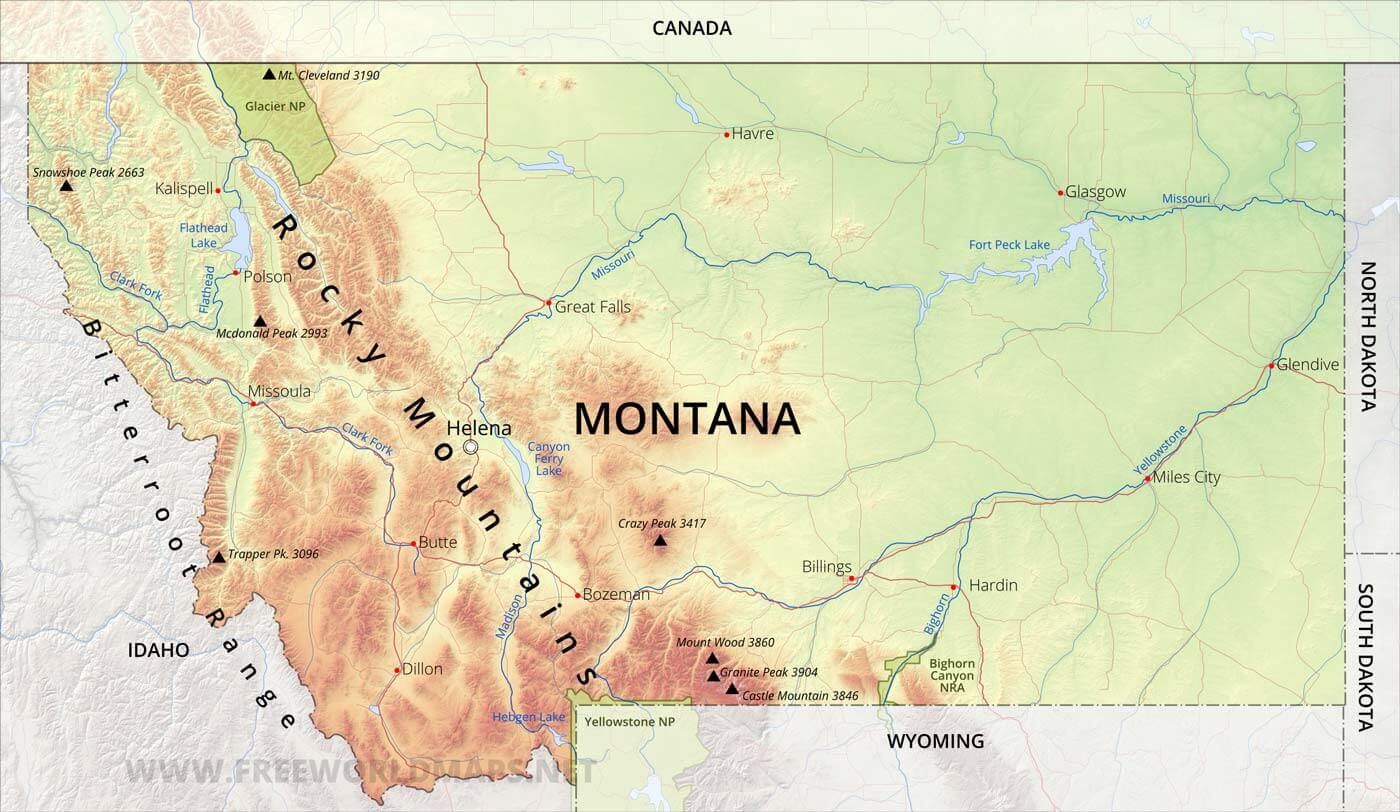 Physical map of Montana