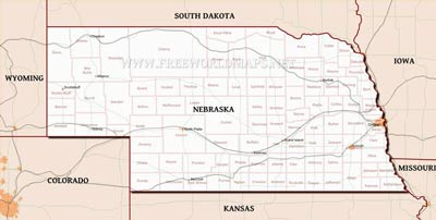 Physical Map Of Nebraska - Nebraska rivers map