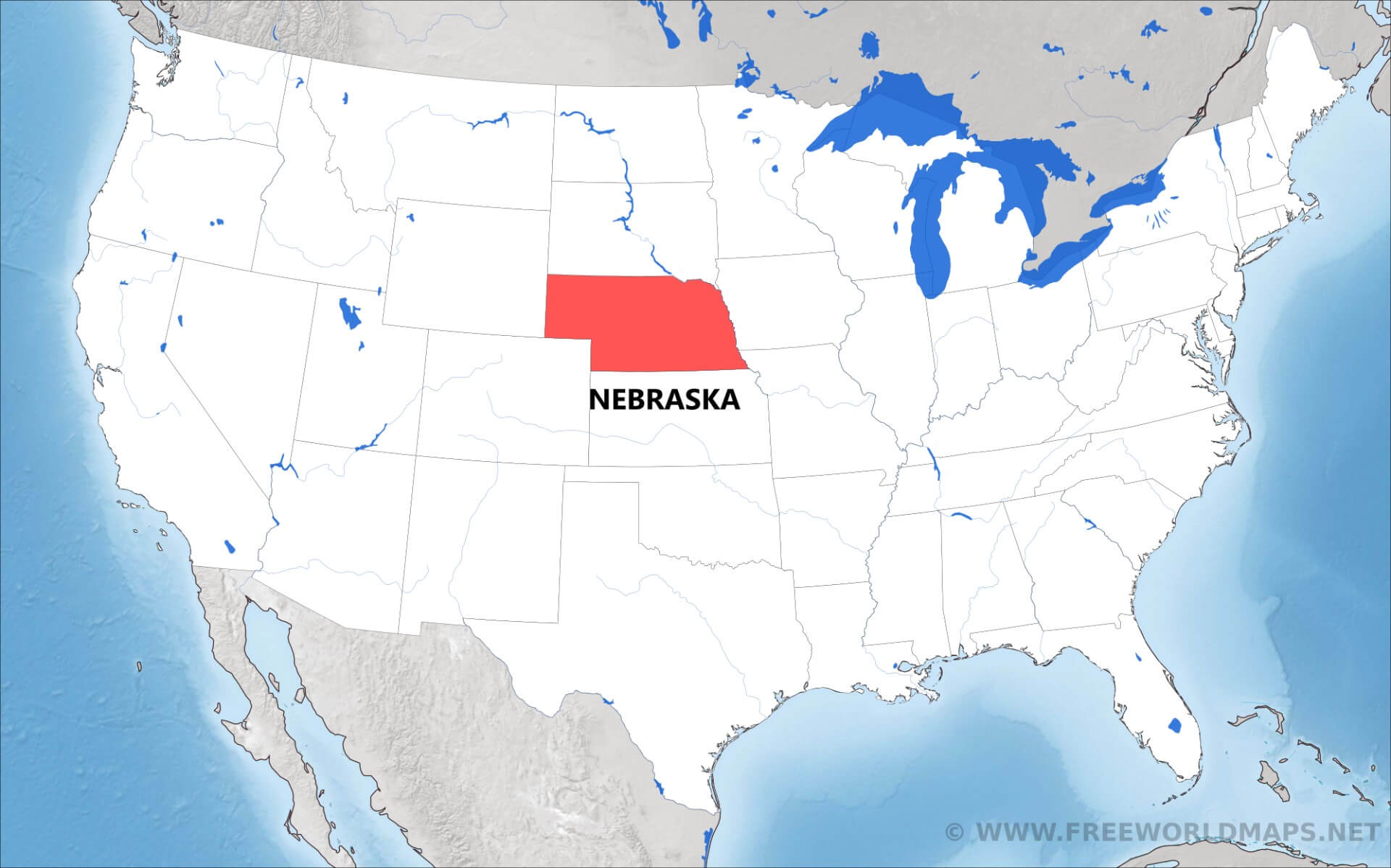 Nebraska location highlighted on the us map