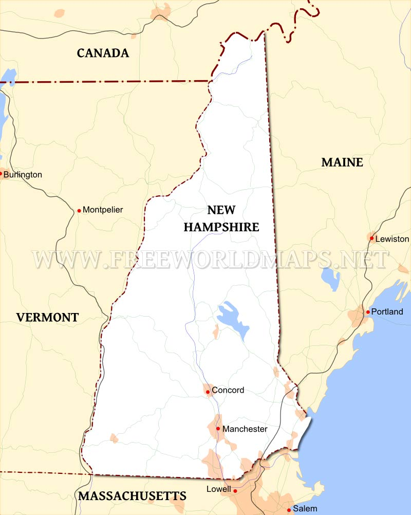 Maps Us Map New Hampshire New Hampshire Map Geography Of New - Us map new hampshire