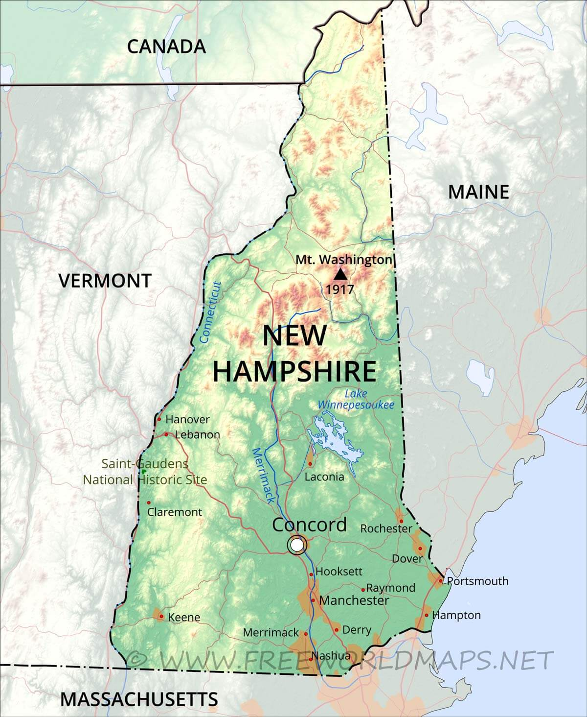 Physical map of New Hampshire