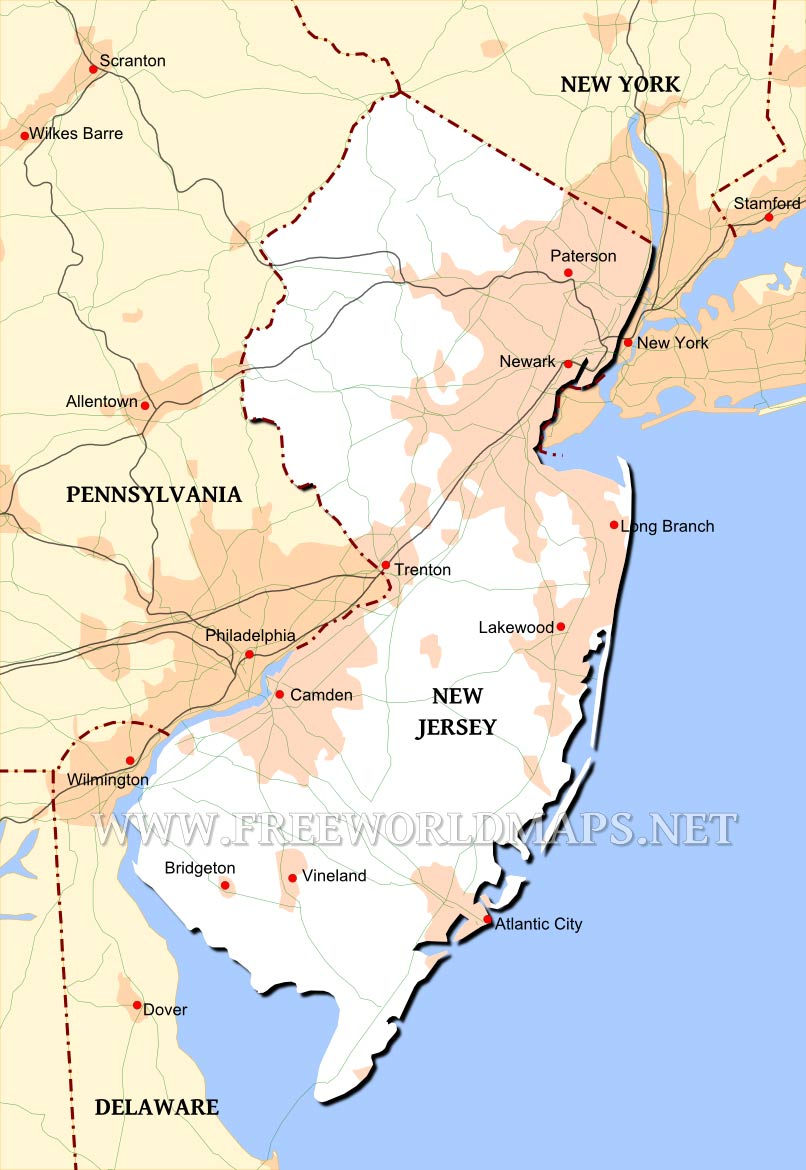 Physical Map Of New Jersey - Detailed map of nj
