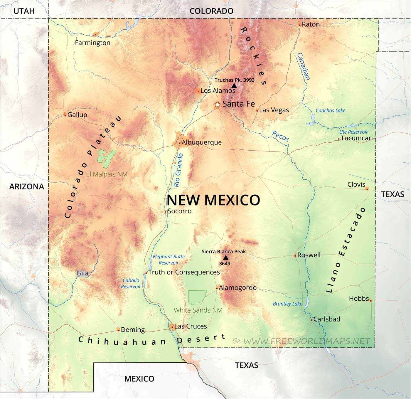 Physical Map Of New Mexico - United states map mountains
