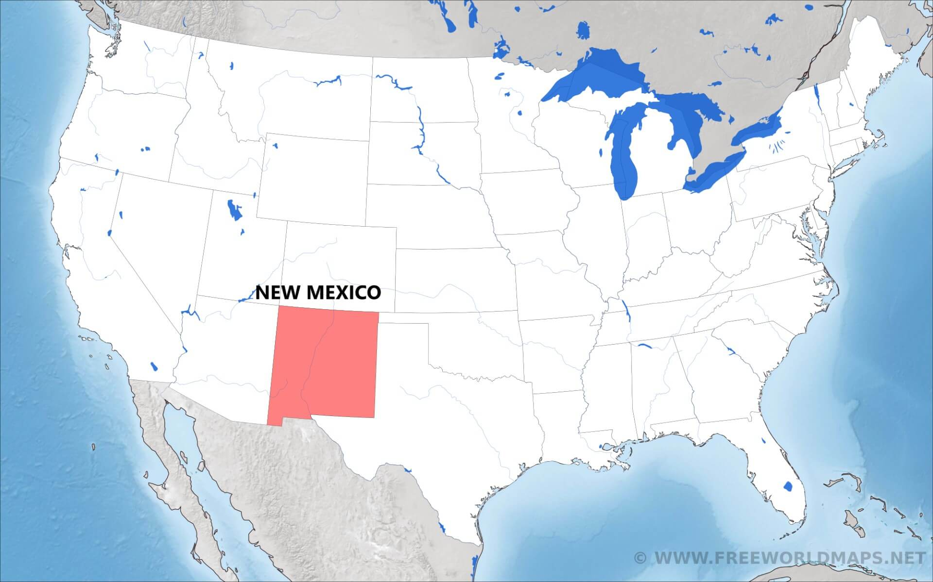 Where Is New Mexico Located On The Map - New mexico on us map