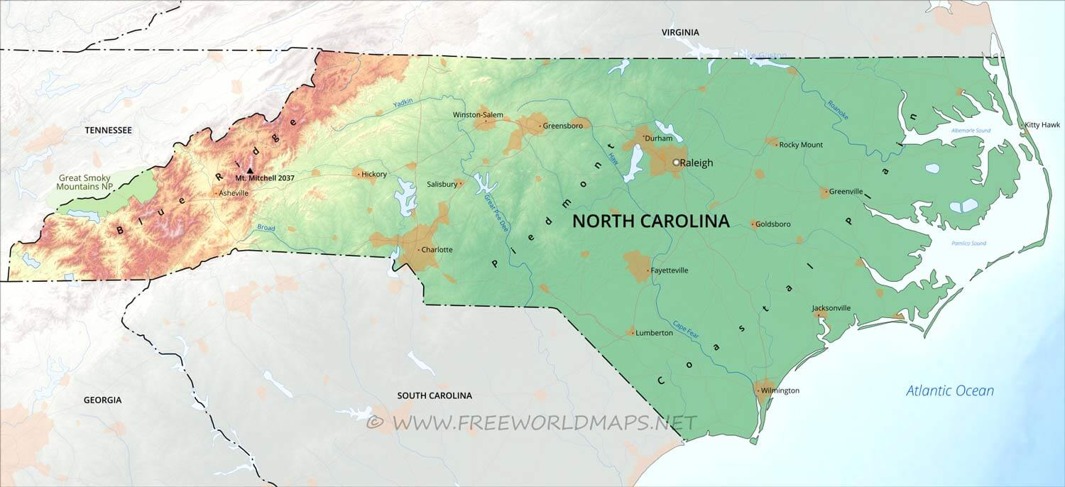 Physical map of North Carolina – North Carolina Travel Map