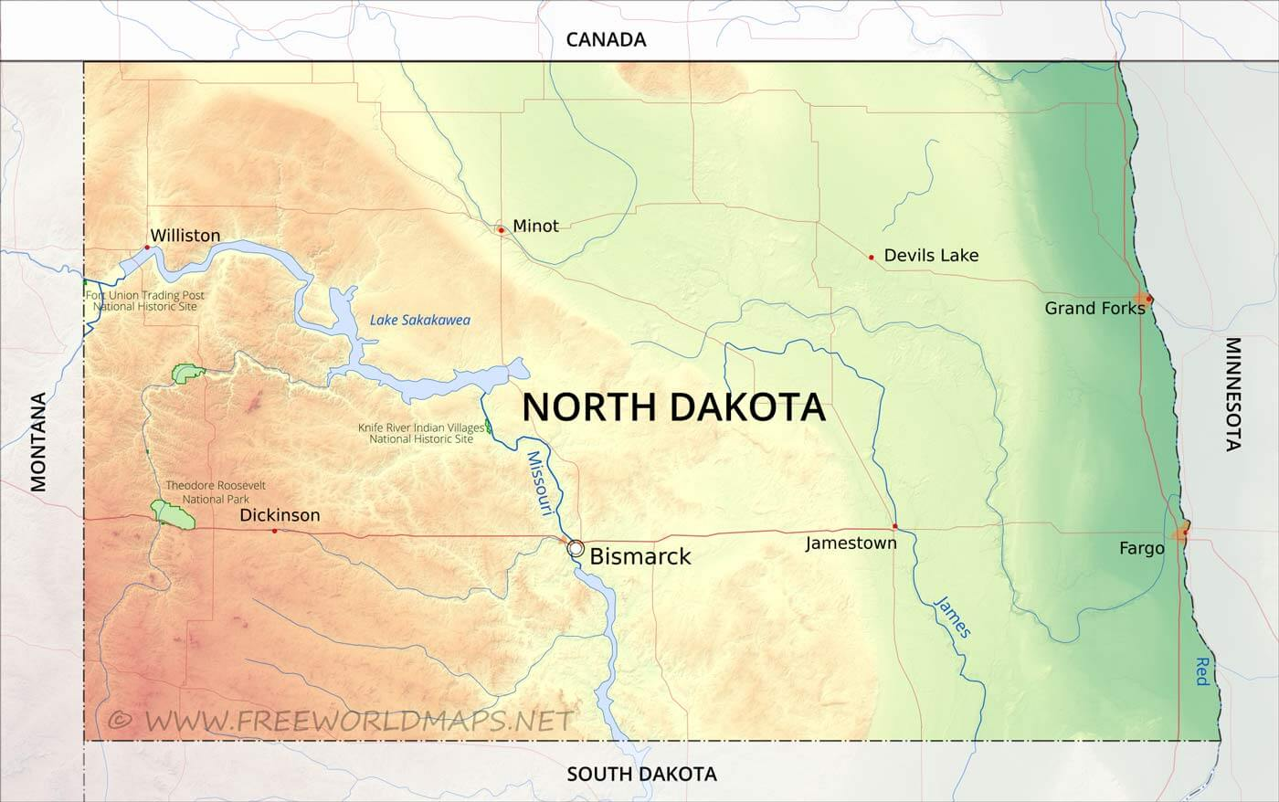Physical Map Of North Dakota - Maps of north dakota
