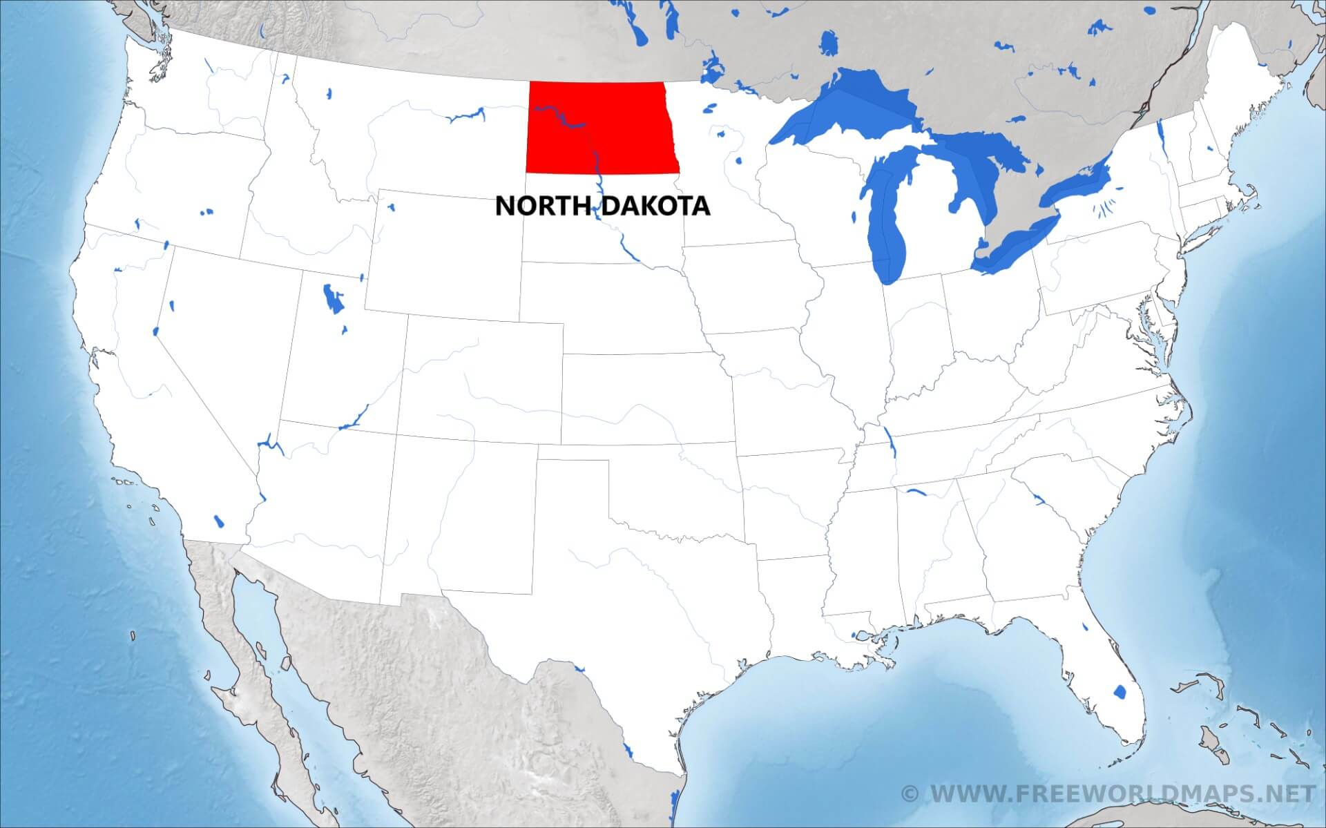 Where is North Dakota located on the map?