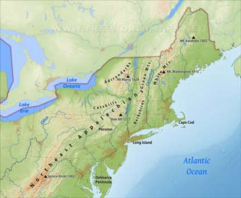 Northeastern US Maps - Us geographical map