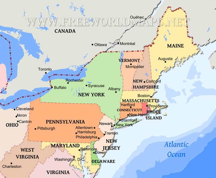 Northeastern US Maps Blank Map Of The Northeast Region Of The Usa - Us northeast map