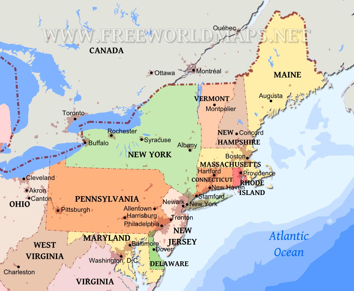 Northeastern US Maps - Usa map with cities and states detailed