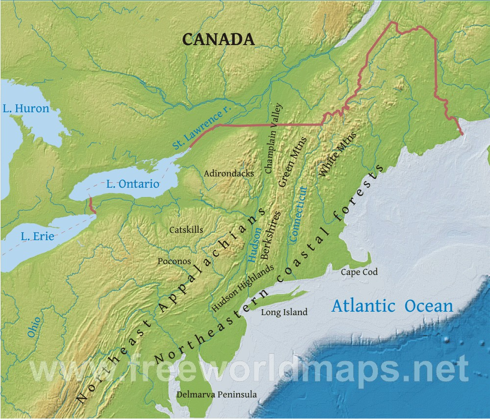 Northeastern US Physical Map - Physical features of canada and the united states