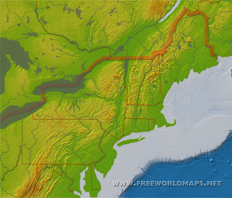 Physical map of the Northeast