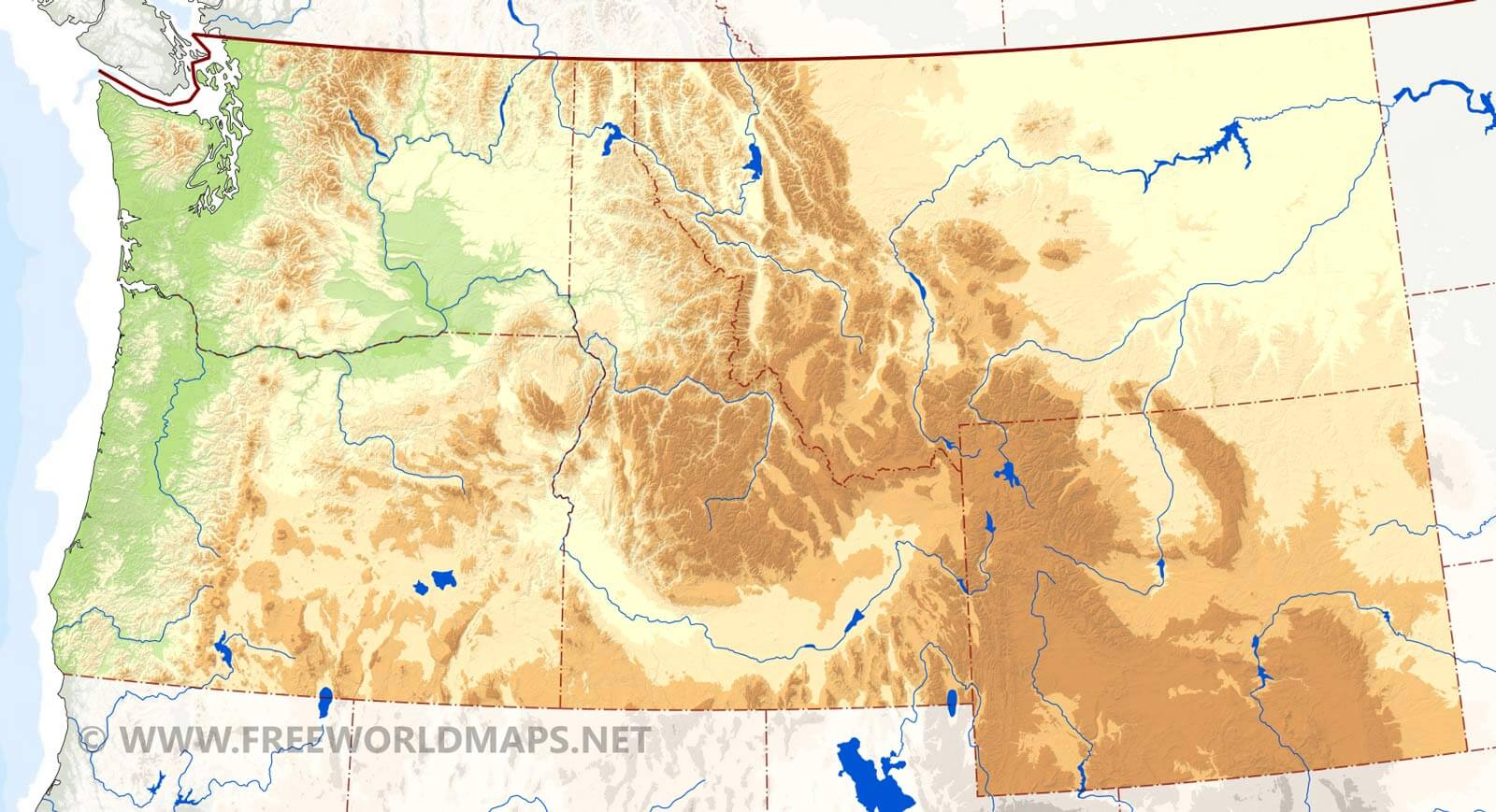 Northwestern US Physical Map - Map of northwest us rivers