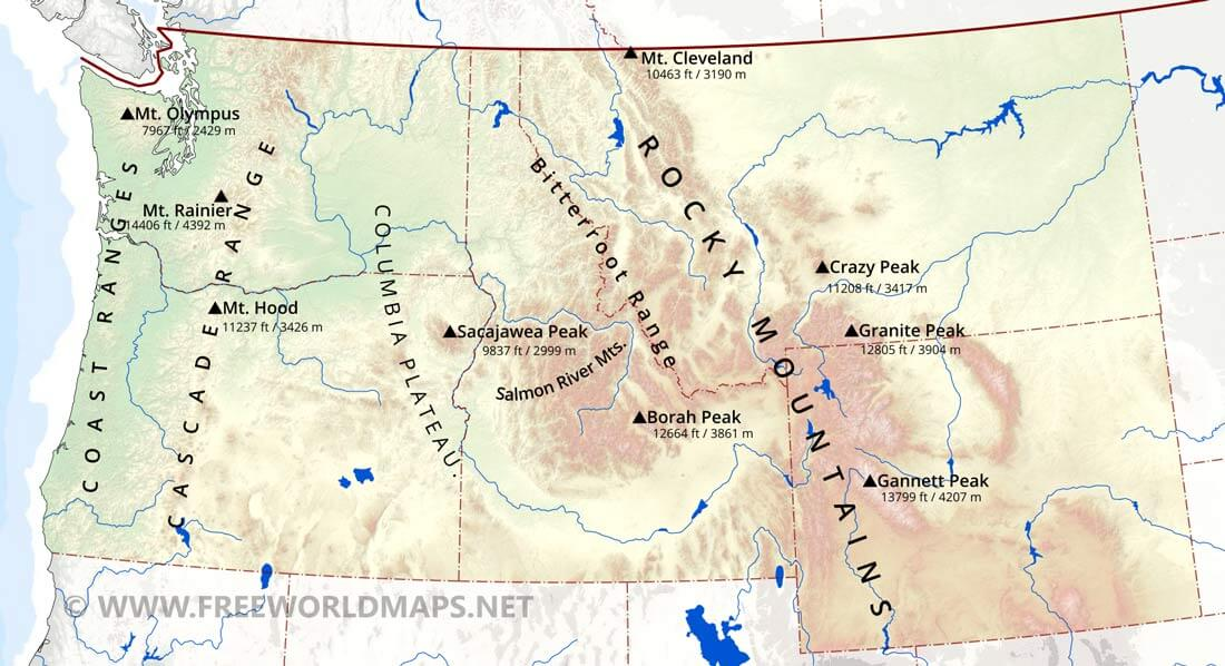 Northwestern US Physical Map - Map of the us mountains