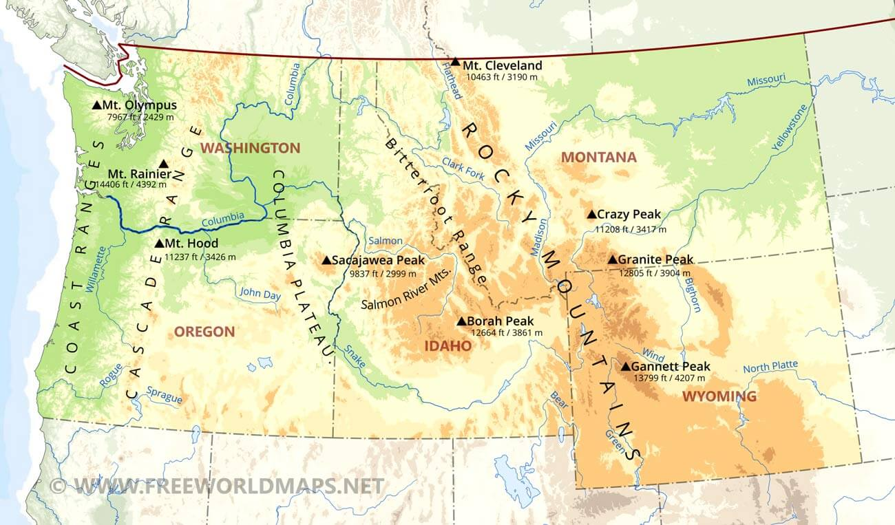 US Physical Map - Map of northwest us rivers
