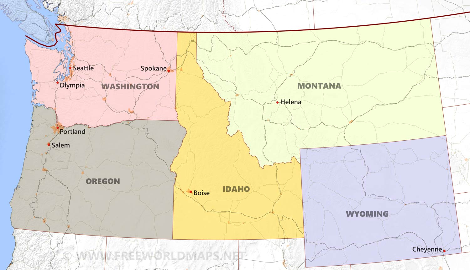 Northwestern US Political Map By Freeworldmapsnet - Washington political map