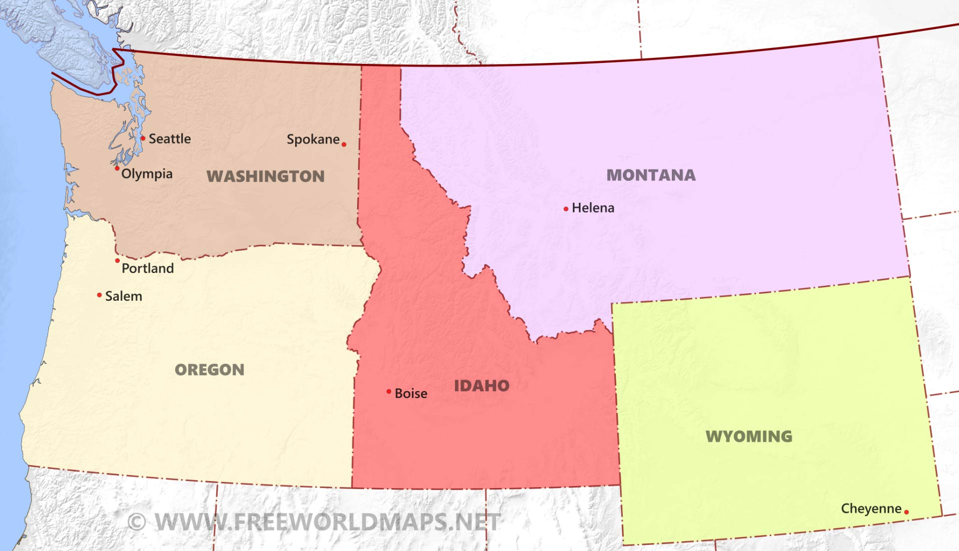 Northwestern US Political Map By Freeworldmapsnet - Idaho political map