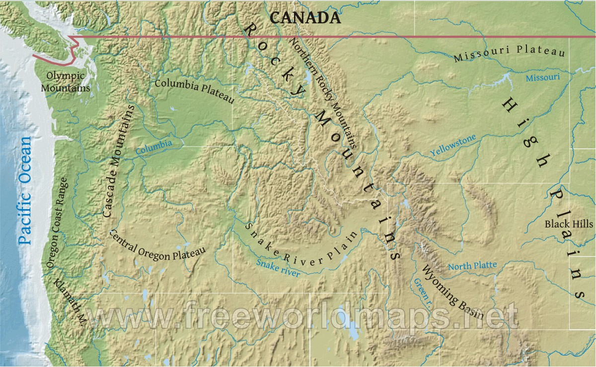 Northwestern US Physical Map - Labeled us map with mountain range and rivers