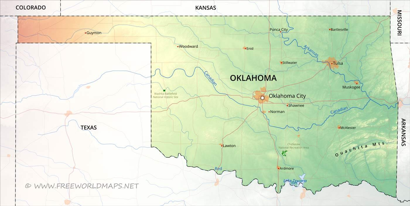 Physical map of Oklahoma