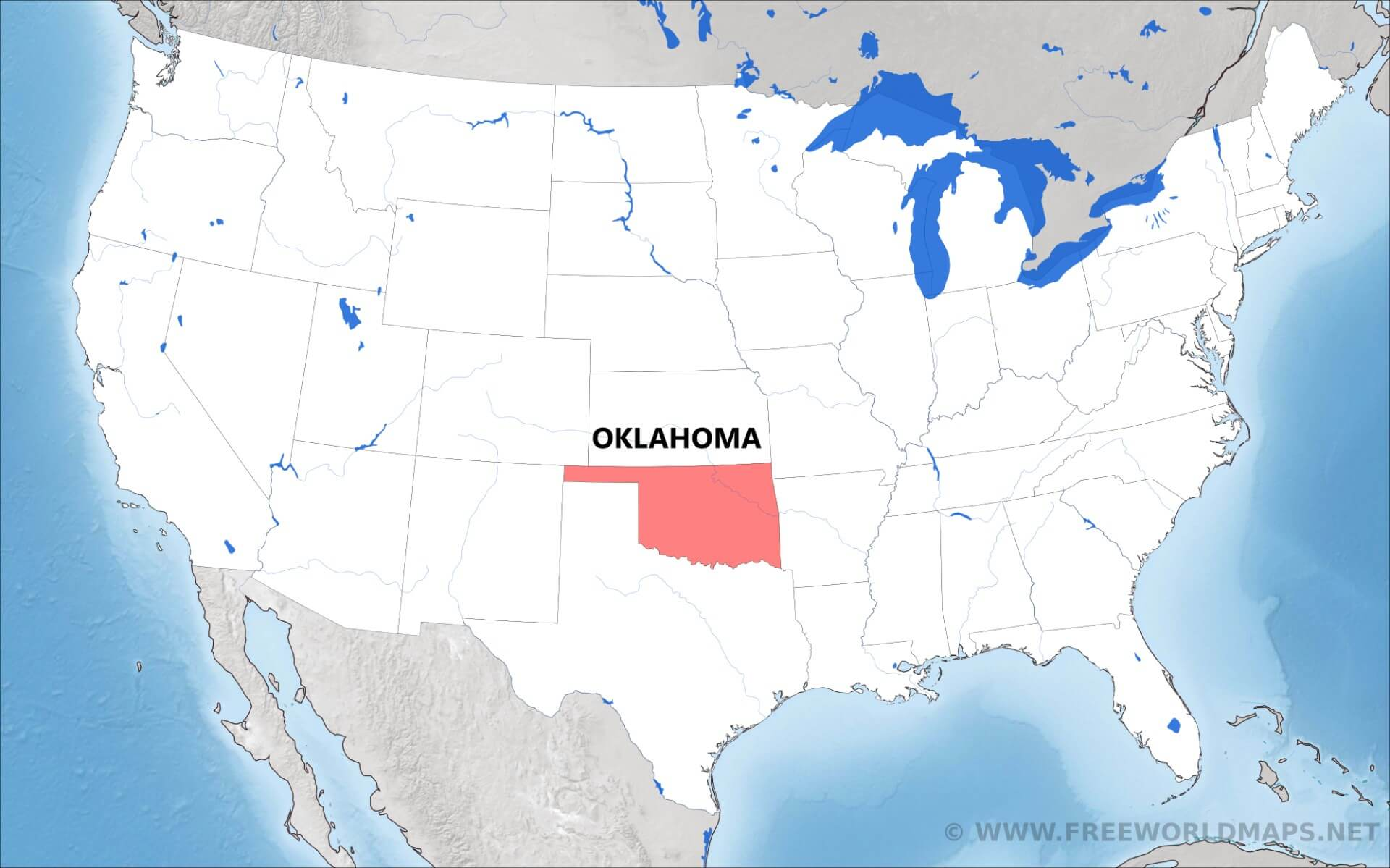 Where is Oklahoma located on the map?