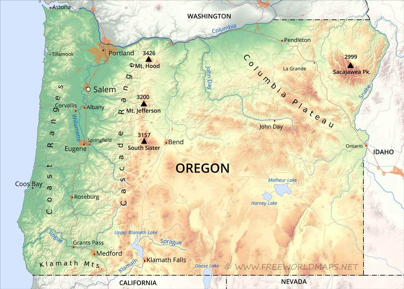 Physical Map Of Oregon - Mountain ranges of united states