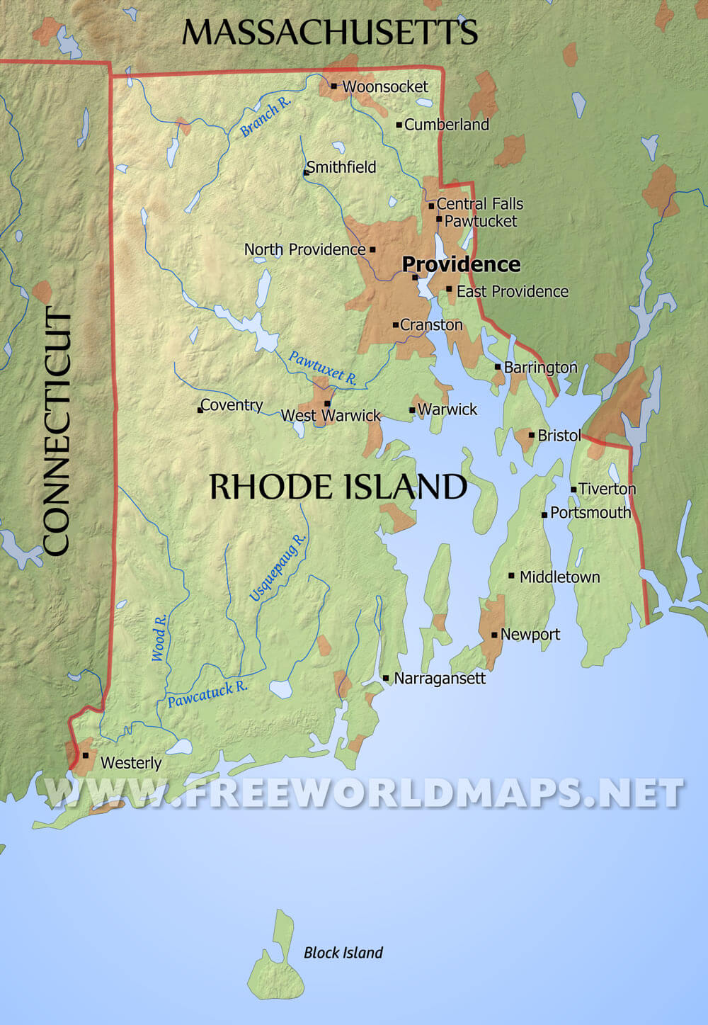 Physical Map Of Rhode Island - Massachusetts physical map