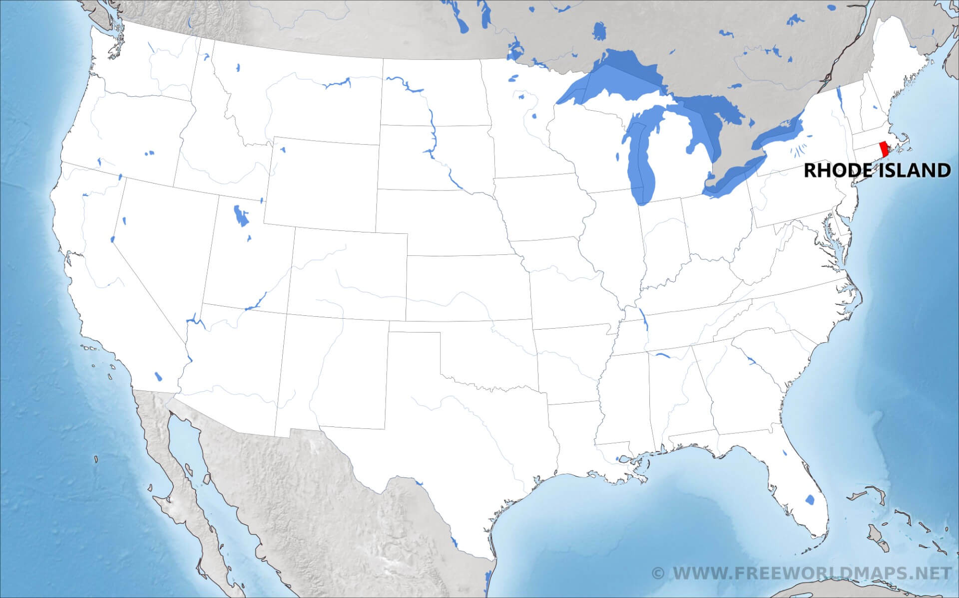 Where is Rhode Island located on the map