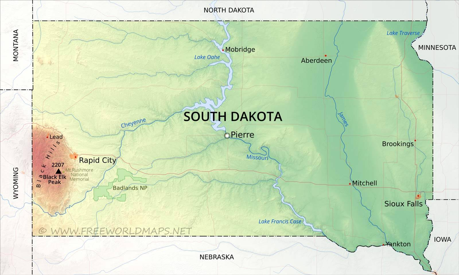 Physical map of South Dakota